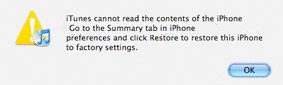 Itunes cannot read the content of the Iphone. Go to the Summary tab in Iphone preferences and click restore this Iphone to factory settings